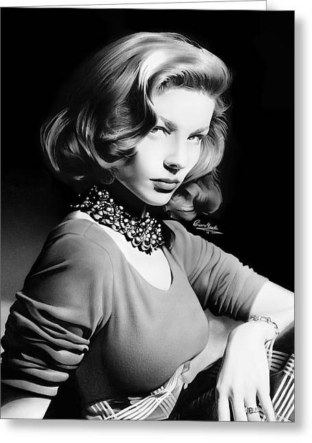 1950s Movies Greeting Cards - Lauren Bacall Greeting Card by Liam  York
