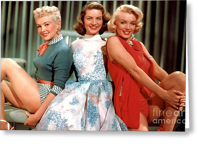 Lauren Bacall Greeting Cards - Lauren Bacall Marilyn Monroe Betty Grable Painting Greeting Card by Marvin Blaine