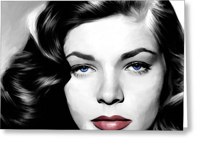 Bacall Greeting Cards - Lauren Bacall Large Size Portrait Greeting Card by Gabriel T Toro