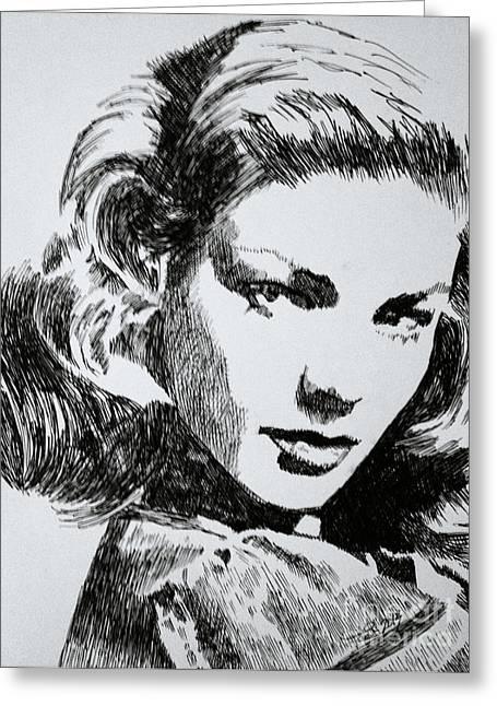 Robbi Musser Pen And Ink Greeting Cards - Lauren Bacall Greeting Card by Robbi  Musser