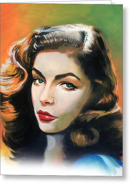 Stylized Beverage Greeting Cards - Lauren Bacall Greeting Card by Robert Korhonen