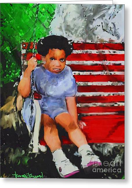 African-americans Greeting Cards - Lauren On The Swing Greeting Card by Vannetta Ferguson