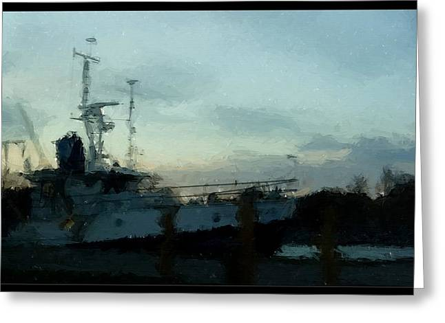 Water Vessels Drawings Greeting Cards - Laurent Great Lakes Research Vessel Greeting Card by Rosemarie E Seppala