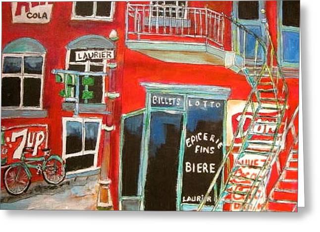 Laurier Balconies Montreal Memories Greeting Card by Michael Litvack