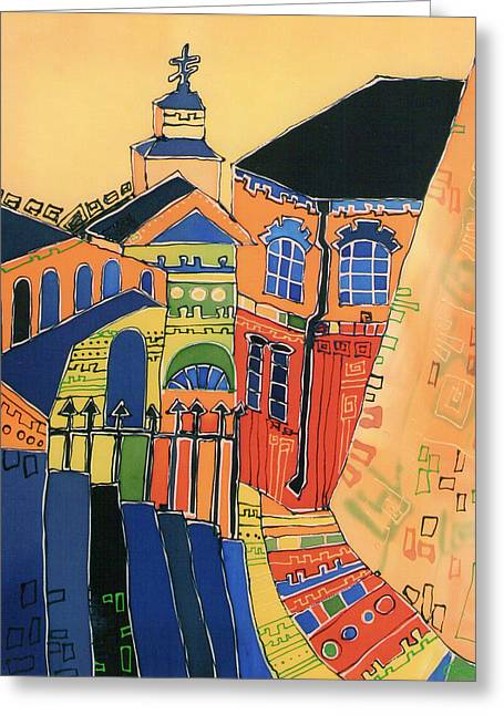 Cityscape Tapestries - Textiles Greeting Cards - Laurus Greeting Card by Mariya Suchova