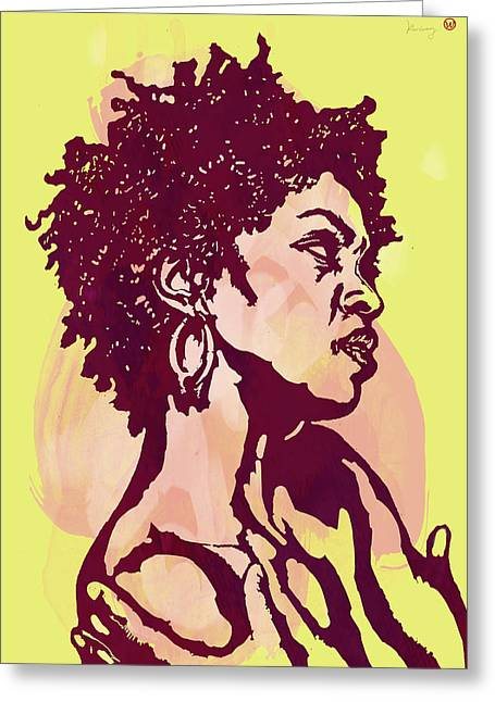 Colours Mixed Media Greeting Cards - Lauryn hill b w -  Modern colour etching art  poster Greeting Card by Kim Wang