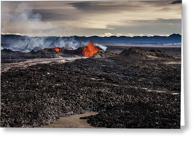 Steaming Greeting Cards - Lava And Plumes From The Holuhraun Greeting Card by Panoramic Images