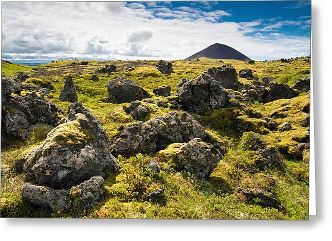 Field Rocks Greeting Cards - Lava field with rocks and crater in Iceland Greeting Card by Matthias Hauser