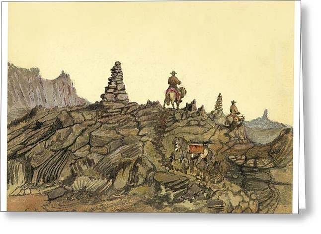 Norse Greeting Cards - Lava fields in Iceland Circa 1862 Greeting Card by Aged Pixel