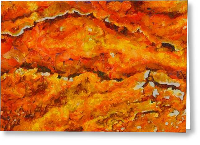 Temperature Mixed Media Greeting Cards - Lava Flow Greeting Card by Dan Sproul