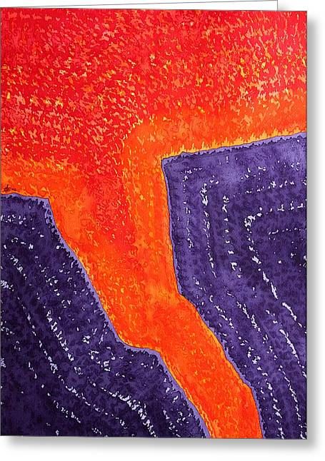 Printmaking Greeting Cards - Lava Flow original painting Greeting Card by Sol Luckman