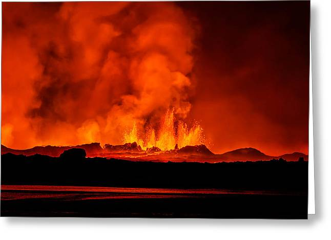 Natural Disaster Greeting Cards - Lava Fountains At Night, Eruption Greeting Card by Panoramic Images