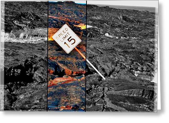 Hike Tapestries - Textiles Greeting Cards - Lava Road Greeting Card by Jo Roberts