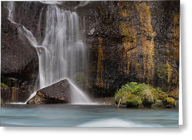 Waterfalls Pyrography Greeting Cards - Lavafalls in Borgarfjord Greeting Card by Rafn Sig