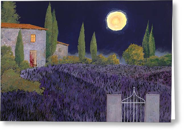 Moonlit Greeting Cards - Lavanda Di Notte Greeting Card by Guido Borelli