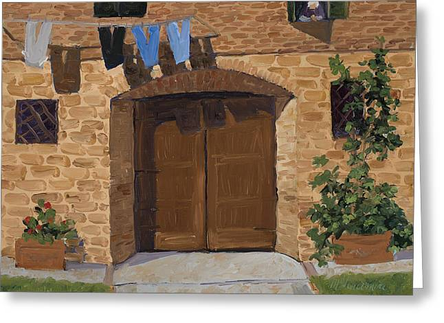 Drying Rack Greeting Cards - Lavanderia Greeting Card by Mary Giacomini