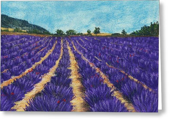 Rural Scene Pastels Greeting Cards - Lavender Afternoon Greeting Card by Anastasiya Malakhova