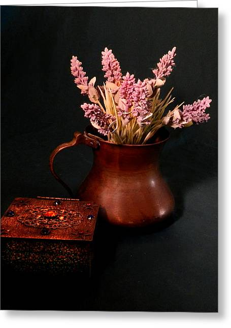 Still Life With Old Pitcher Greeting Cards - Lavender and Copper Greeting Card by Grace Dillon
