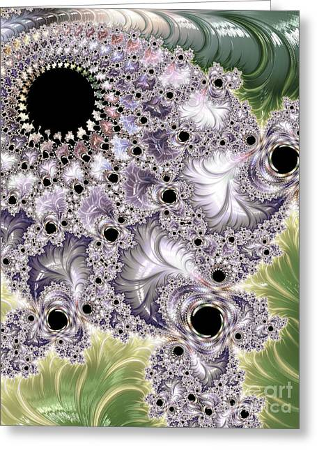 Burst Greeting Cards - Lavender And Green Fractal Abstract  Greeting Card by Heidi Smith