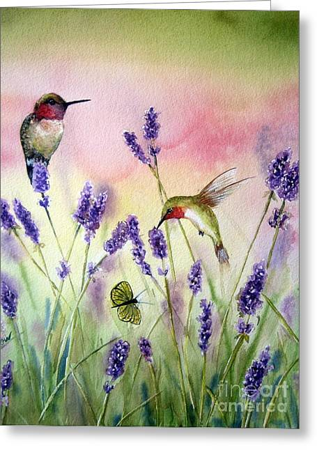 Ruby Throated Hummingbird Greeting Cards - Lavender And Hummingbirds Greeting Card by Patricia Pushaw