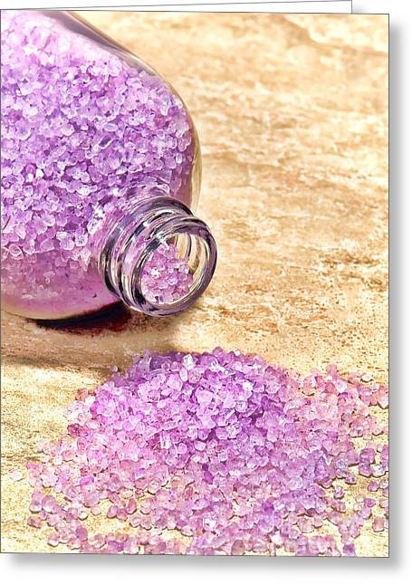 Salt Sea Greeting Cards - Lavender Bath Salts Greeting Card by Olivier Le Queinec