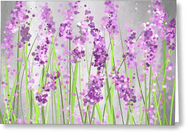 Lavender Fields Greeting Cards - Lavender Blossoms - Lavender Field Painting Greeting Card by Lourry Legarde