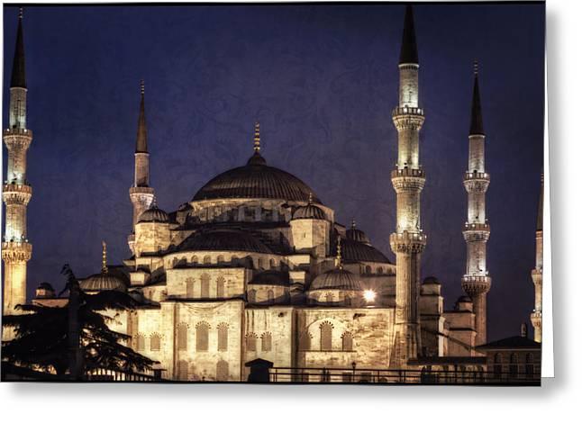 Asian Turkey Greeting Cards - Lavender Brocade Greeting Card by Joan Carroll