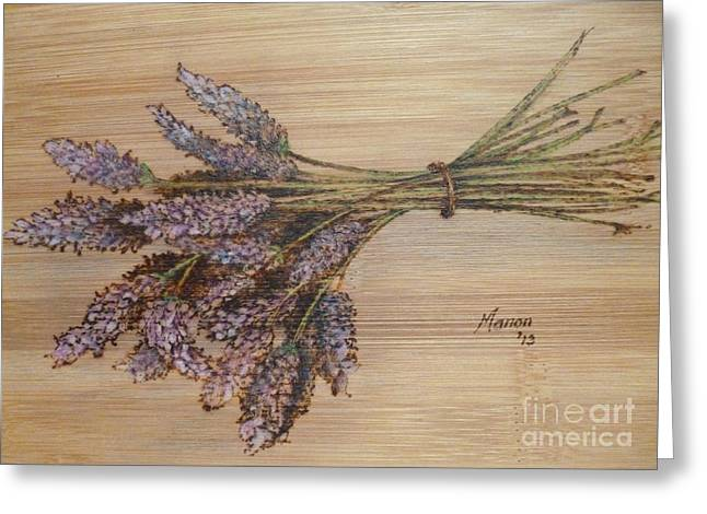 Lavender Pyrography Greeting Cards - Lavender bunch Greeting Card by Manon  Massari