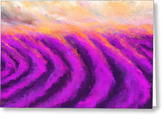 Lavender Delight - Lavender Field Impressionist Greeting Card by Lourry Legarde