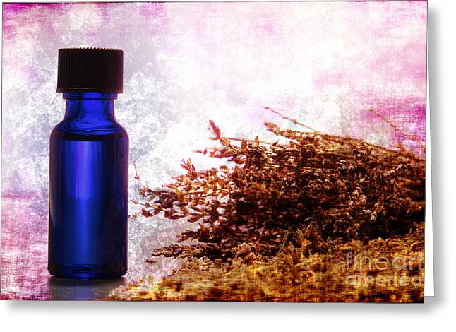 Essentials Greeting Cards - Lavender Essential Oil Bottle Greeting Card by Olivier Le Queinec