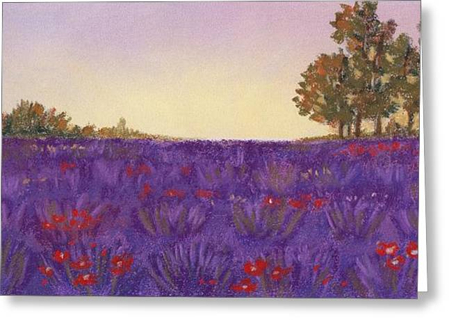 Rural Scene Pastels Greeting Cards - Lavender Evening Greeting Card by Anastasiya Malakhova