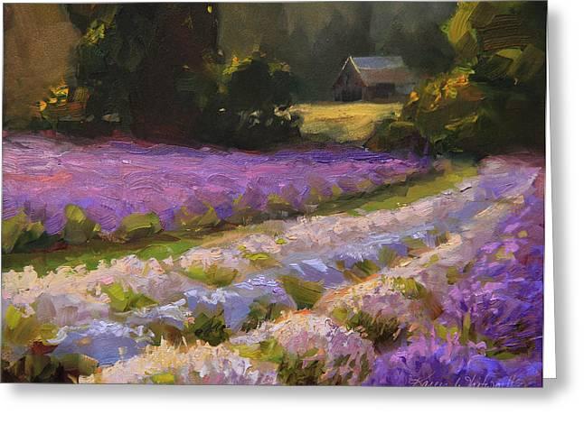 Loose Greeting Cards - Lavender Farm Sunset Greeting Card by Karen Whitworth