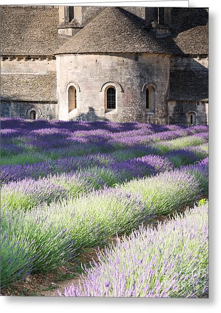 Azur Greeting Cards - Lavender field in front of Senanque abbey - Provence - France Greeting Card by Matteo Colombo
