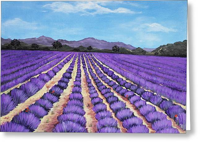 Purple Mountains Drawing Greeting Cards - Lavender Field in Provence Greeting Card by Anastasiya Malakhova