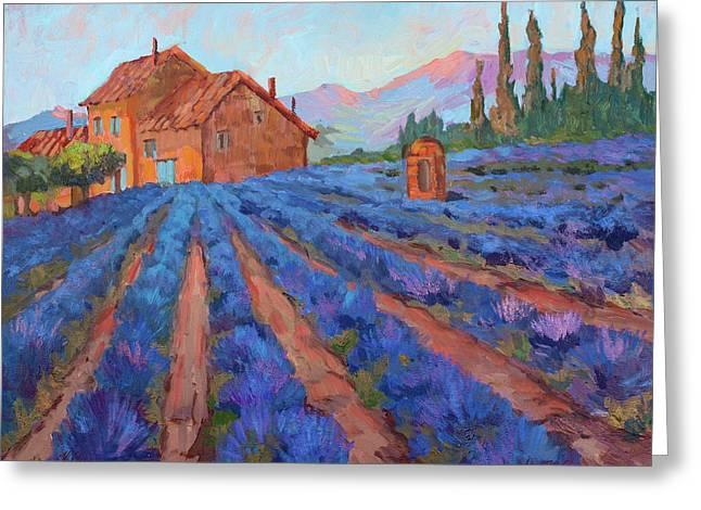 Provence Village Greeting Cards - Lavender Field Provence Greeting Card by Diane McClary
