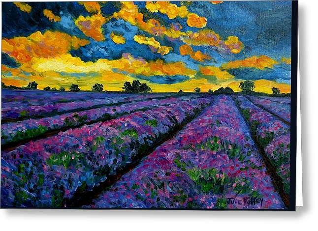 Sunset Prints Greeting Cards - Lavender Fields At Dusk Greeting Card by Julie Brugh Riffey