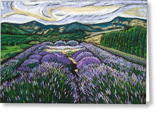 The Hills Pastels Greeting Cards - Lavender Fields Greeting Card by Gergana Valkova