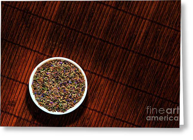 Lavender Flower Seeds In Dish Greeting Card by Olivier Le Queinec