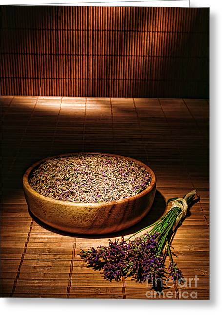 Chiaroscuro Greeting Cards - Lavender Flowers and Seeds Greeting Card by Olivier Le Queinec