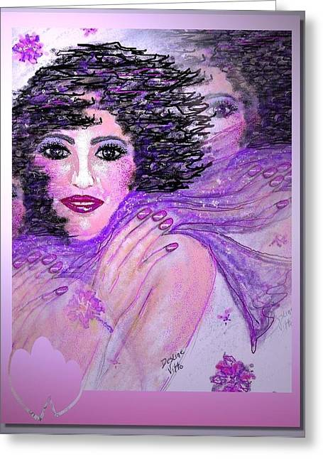 Scarf Pastels Greeting Cards - Lavender Gaze Greeting Card by Desline Vitto
