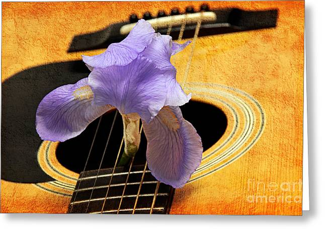 Guitar Body Greeting Cards - Lavender Iris And Acoustic Guitar - Texture - Music - Musical Instrument Greeting Card by Andee Design
