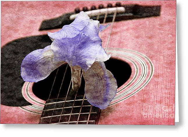 Old Objects Mixed Media Greeting Cards - Lavender Iris And Acoustic Guitar - Texture - Music - Musical Instrument - Painterly - Pink  Greeting Card by Andee Design