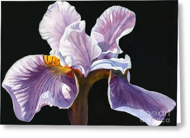 Botanical Art Greeting Cards - Lavender iris on Black Greeting Card by Sharon Freeman