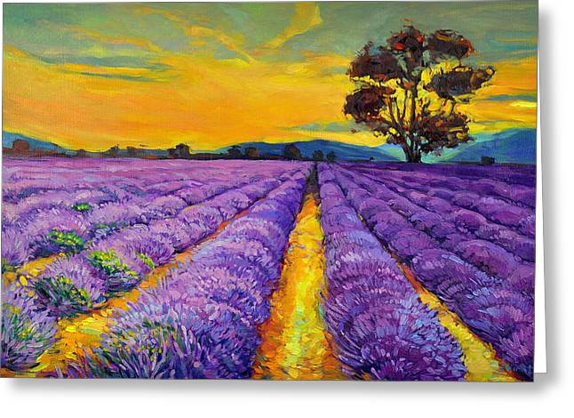 Nature Scene Paintings Greeting Cards - Lavender Greeting Card by Ivailo Nikolov