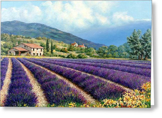 Provence Village Greeting Cards - Lavender Greeting Card by Michael Swanson