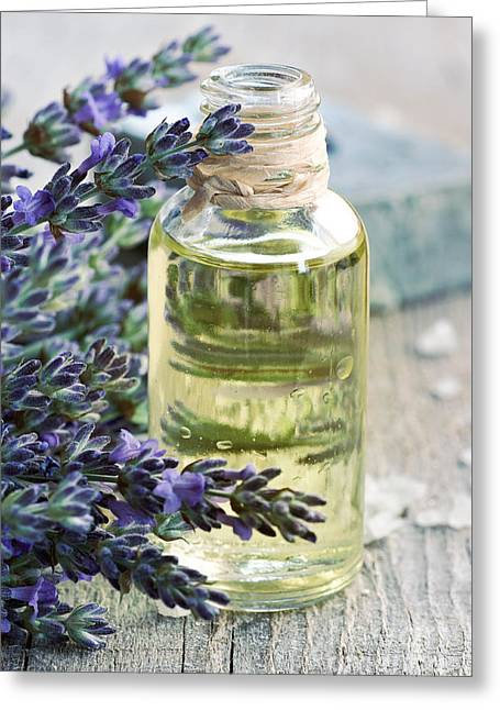 Lavender Oil Greeting Card by Mythja  Photography