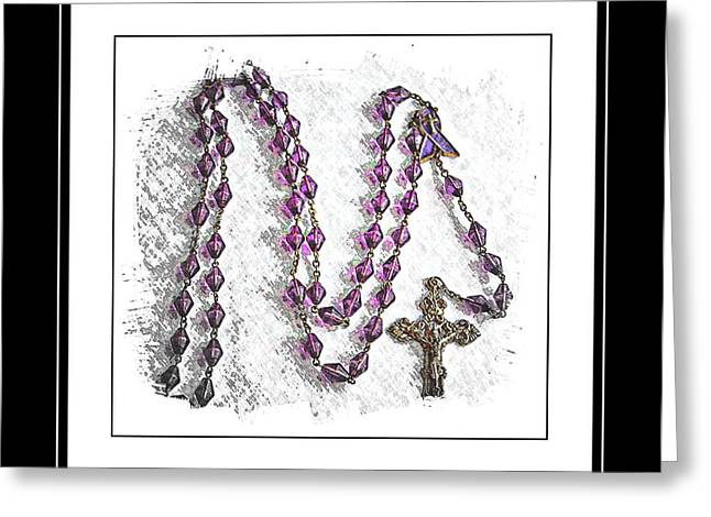 Rosary Digital Art Greeting Cards - Lavender Prayer Beads - Cancer - Prayer - Hope - Awareness Greeting Card by Barbara Griffin
