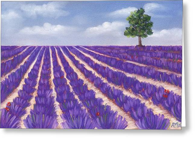 Nature Scene Pastels Greeting Cards - Lavender Season Greeting Card by Anastasiya Malakhova
