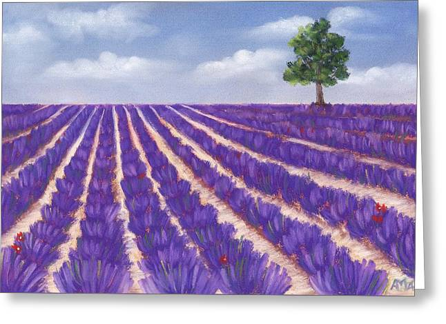 Rural Scene Pastels Greeting Cards - Lavender Season Greeting Card by Anastasiya Malakhova