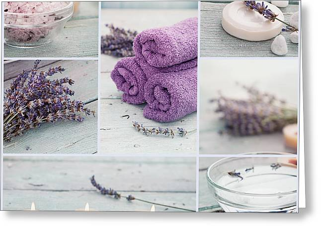 Therapy Greeting Cards - Lavender spa collage Greeting Card by Mythja  Photography